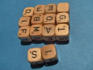 Scrabble Crossword Cubes No. 93 Replacement Set Of 14 Letters Cubes 1968 Wooden