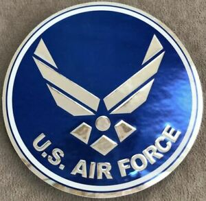 "U.S. AIR FORCE 4"" DIAMETER STICKER DECAL, METALLIC BLUE, SILVER CHROME MIRROR!"