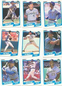 1990 Fleer Milwaukee Brewers Complete Team Set! Robin Yount Paul Molitor ++