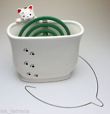 Hang In There Clinging Cat Look Over Wall Ceramic Mosquito Coil/ Incense Holder