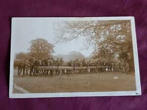 VINTAGE WW 1 ERA REAL PHOTO POSTCARD, SOLDIERS WITH THIER HORSES