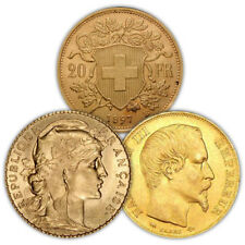20 Francs Gold Coin (French/Swiss, Varied Year, VG+)