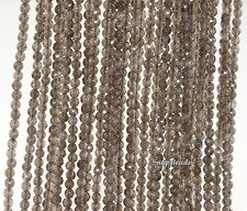 """2Mm Smoky Quartz Gemstone Grade Aa Light Brown Faceted Round Loose Beads 15.5"""""""