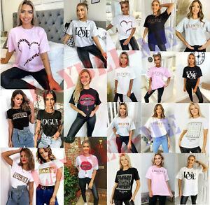 Women's Short Sleeve Slogan Printed T-shirts Summer Ladies Tee Tops New 8-18 UK