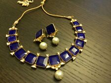 Kundan Necklace with Earrings Set Blue white Kundan Wedding Jewelry set usa uk