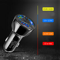 3-Port USB Car Charger Adapter LED Display QC 3.0 Fast Charging Car Accessories