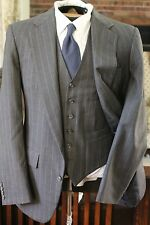 BURN the SOUTHWICK Trad Grail Three 3 Piece Gray 3 S'sn Worsted Stripe Suit FF G