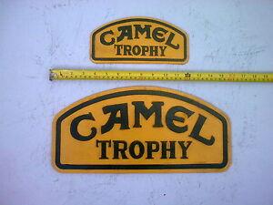 Pair Cast Iron Camel Trophy Sign/Plate Badge Logo Plaque