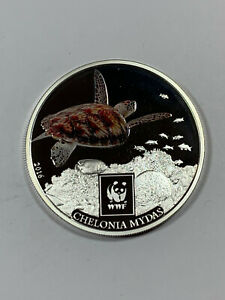 WWF 2016 Tanzania 100 Shilling Silver Plated Proof Coin with Green Sea Turtle