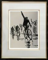 BEAU DESSIN SPORTIF DE COLLECTION // CYCLISME ETAPE DU TOUR DE FRANCE 1950 (4)