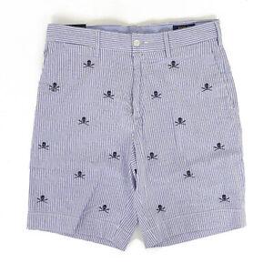 "Polo Ralph Lauren Stretch Classic Fit 9"" Seersucker Shorts w/ Skulls"