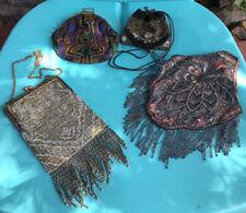 Art Deco Edwardian 1900s Handbag Lot of 4 Fringe Purse Antique micro Beaded