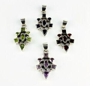 Garnet, Amethyst, Peridot, Iolite Pendant Real Gems 925 Silver L 47 MM