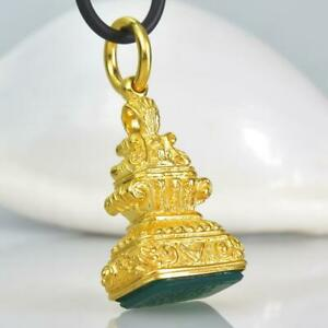 Gold Vermeil Sterling Silver Green Chalcedony Fob Seal Stamp Pendant 13.41 g