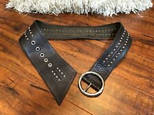 "Michael Kors Bohemian Studded Wide Brown Leather Belt S/M 29"" 30"" 31"" 32"" 33"""