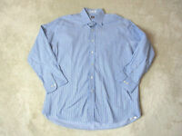 Peter Millar Button Up Shirt Adult Large 17 1/2 Blue White Striped Casual Mens