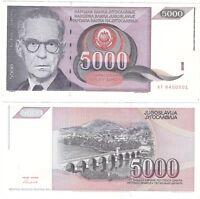 Yugoslavia 5000 Dinara 1991 P-111a UNC Uncirculated Hyper Infaltion Banknote