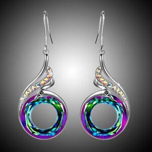 Vintage Silver Turquoise Ear Hook Stud Dangle Drop Moonstone Sapphire Earrings