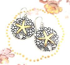 Sand Dollar Starfish Ocean Earrings Gold on Silver Charm