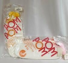 2 Vintage Sports Socks 80% Cotton Pom Pom Socks White/Blue - White