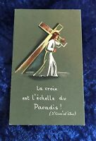 Vintage Antique Belgium Jesus Cross Artwork Holy Prayer Card Catholic Religious