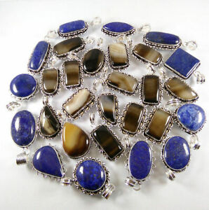 50 Pcs Natural Lapis Banded Agate Mix 925 Sterling Silver Plated Pendants VPC54