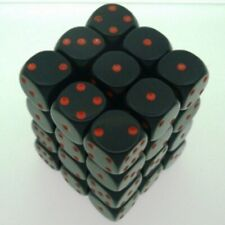36 d6 Dice Set Chessex OPAQUE BLACK red 25818 Dadi OPACO NERO rosso