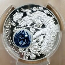 2017 Cook Is. $10 Peacock Royal Delft Pavo Christatus Silver Coin PCGS PR70DCAM