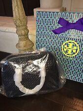 Tory Burch Robinson Basket Weave Open Dome Satchel Bag Handbag NWT $525 BLACK