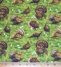 Golden Harvest Turkey in Grass 100% Cotton Fabric By Yard Wildlife