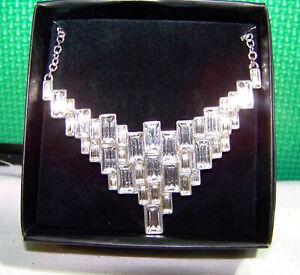 2015 Avon Cascading Baguettes Collar Necklace Silvertone Women's Fashion - NMIB