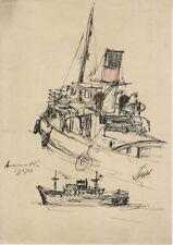 Dessins et lavis du XXe siècle et contemporains originaux en paysage marin, bateau
