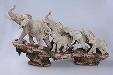 Elephant Family On Cliff Figurine Statue Sculpture Resin Home Garden Decor Gift