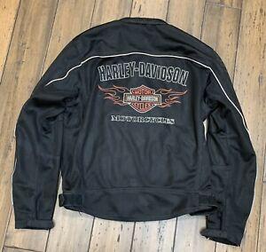 Harley Davidson Men's Bar Shield Racing Flames Ride Ready Mesh Jacket Size Large