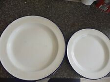 2 Vintage White Enamel Plates Dishes Bumper Harvest style Yugoslavia Enamelware
