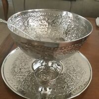 India Silver Plate Grape Motif Large Pedestal Punch Bowl, Tray, Ladle & Cups