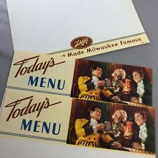 3 Schlitz Beer Restaurant Bar Advertising Menu Blanks Vintage Original