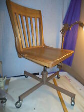VINTAGE RETRO MID-CENTURY MURPHY OAK & METAL ADJUSTIBLE ROCKING OFFICE CHAIR
