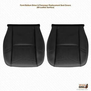 2007 2008 Cadillac Escalade Driver & Passenger Bottom Leather Seat Cover Black