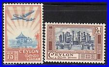 CEYLON 1950 HIGH VALUES SC#311-12 MLH  CV$11.00 ARCHITECTURE PLANES