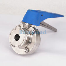 "1"" 25mm SS304 SS Sanitary Tri Clover Clamp Butterfly Valve Brew beer"