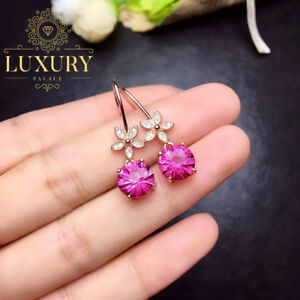 Natural Pink Topaz 18K Rose Gold Plated Solid 925 Sterling Silver Drop Earrings