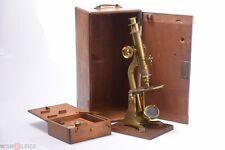 ✅ HORNE & THORNTHWAITE LARGE ANTIQUE BRASS MICROSCOPE COMPOUND MODEL C.1853