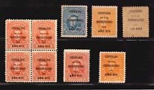 Uruguay #211-213 MLH & MNH stamps block and ovpt variety
