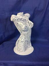 Nude Woman Female Torso Voronoi Style Statue White Professionally 3D Printed