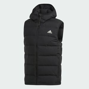 Hooded Vest Training Mens Adidas Helionic Black Packable Down Wind Resistant