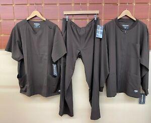 NEW Men's Skechers Brown Scrubs Set With XL Top, XL Pants, & XL Jacket NWT