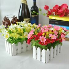 Picket Fence Plant Pot Pack Mini Garden Artificial Fake Flowers Potted Decor