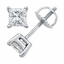 1.00 ct PRINCESS CUT diamond stud earrings 14 KT WHITE GOLD D COLOR VS2-SI1