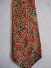 "Modknots Cotton Tie Tan Navy Blue Red Flowers Design 56.5"""